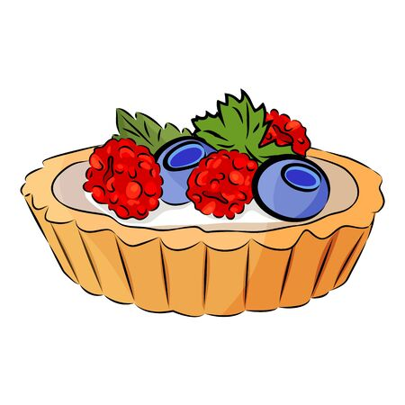 Realistic fruit cupcake. Blueberry, mint, raspberry and yogurt or cream sauce in the shortbread cup. Isolated on the white background. Vector illustration