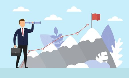 Business Success concept. Businessman is standing and watching the telescope for growth modern ideas and to achieve higher goals. Cartoon, illustration of sky with cloud and mountain. Vector