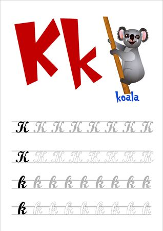 Design page layout of the English alphabet to teach writing upper and lower case letter K with funny cartoon Koala. Flat style. Vector illustration 向量圖像
