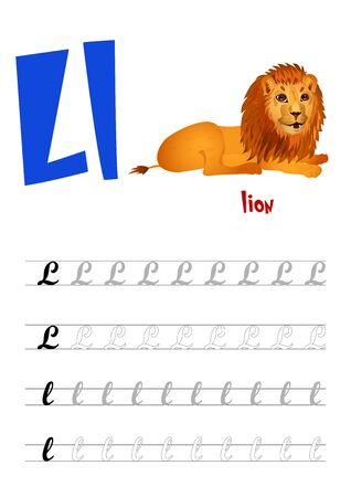 Design page layout of the English alphabet to teach writing upper and lower case letter L with funny cartoon Lion. Flat style. Vector illustration Illustration