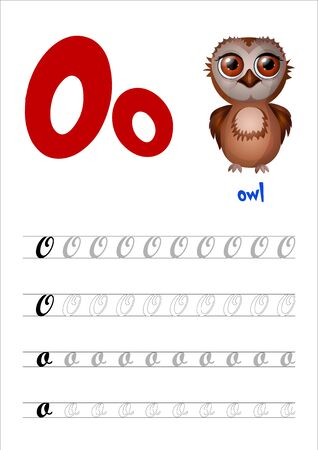 Design page layout of the English alphabet to teach writing upper and lower case letter O with funny cartoon Owl. Flat style. Vector illustration