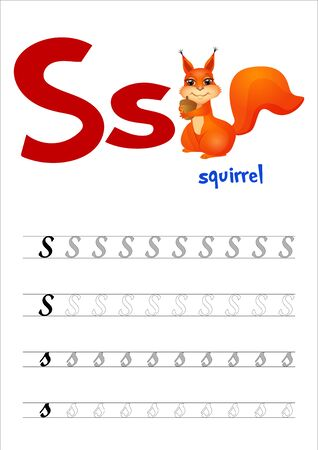 Design page layout of the English alphabet to teach writing upper and lower case letter S with funny cartoon Squirrel. Flat style. Vector illustration 向量圖像