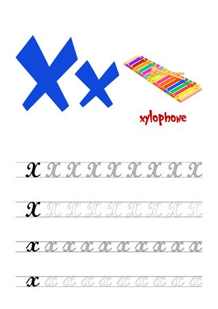 Design page layout of the English alphabet to teach writing upper and lower case letter X with funny cartoon Xylophone. Flat style. Vector illustration
