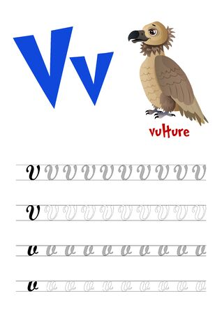 Design page layout of the English alphabet to teach writing upper and lower case letter V with funny cartoon Vulture. Flat style. Vector illustration