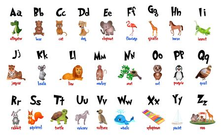 Cute cartoon animals alphabet for children education. Vector illustrations Çizim