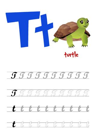 Design page layout of the English alphabet to teach writing upper and lower case letter T with funny cartoon Turtle. Flat style. Vector illustration Illustration