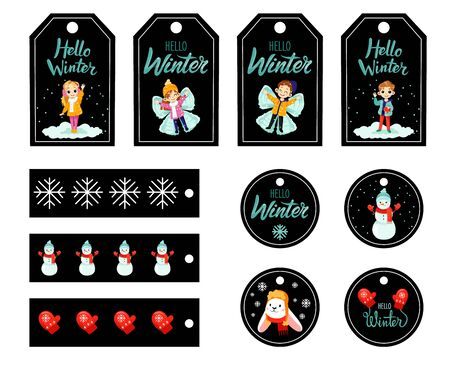 Set of Christmas gift tags with kids and fictional character, winter paraphernalia and warm wishes. Holiday gift labels for New Year. Greeting cards for Christmas time. Flat style. Vector illustration  イラスト・ベクター素材
