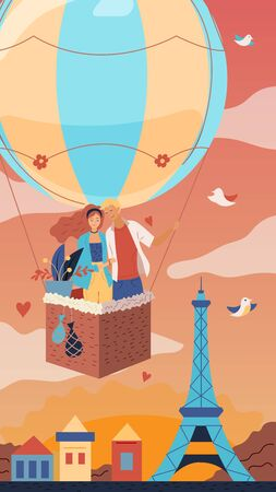 Romantic couple is flying in a hot air balloon over the Paris. Flat style. Vector illustration.