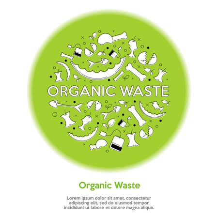 Organic trash concept. Ecology and recycle concept. Zero waste. Flat style. Vector Illustration Foto de archivo - 135182532