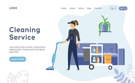 Professional cleaning company service concept. Worker in Uniform with Equipment for Cleaning Room. Website Landing Page, Web Page. Flat style. Vector Illustration