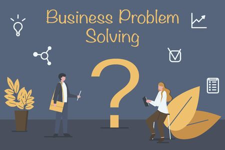 Business problem concept. Business people are discussing and solving business problems. Flat style. Vector illustration