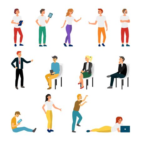 Collection Creative Various Lifestyle Character. Set Crowd of People Performing Activity. Flat style. Vector Illustration. Vecteurs