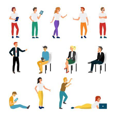 Kolekcja kreatywnych różnych znaków stylu życia. Ustaw tłum ludzi wykonujących aktywność. Płaski styl. Ilustracja wektorowa. Ilustracje wektorowe