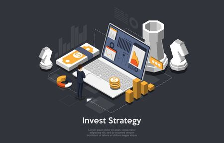Business strategy Concept. Businessman standing in front of big laptop screen and looks at growth statistics. Success in the business. 3d isometric flat design. Vector illustration.