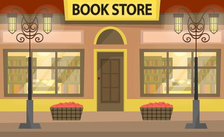 Bookstore building fa ade. A lot of books on the shelves. Literary shop. Flat style. Vector illustration Ilustração