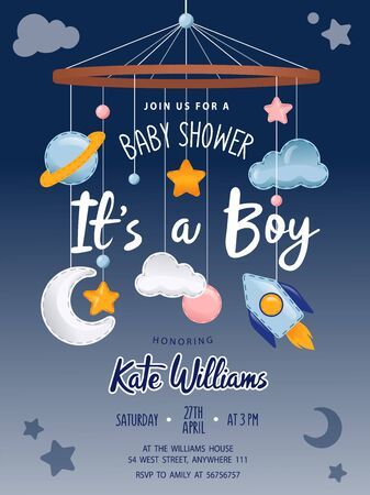 Baby Shower invitation card with cute crib Mobile Musical Box Bed Bell, rocket, moon, planet, clouds and stars. Place for text. Flat style. Vector illustration.