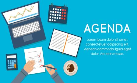 Agenda concept. Businessman at desktop writing agenda. Template, banner for web and print. Vector illustration, flat design. Writing in the clipboard list, time control.