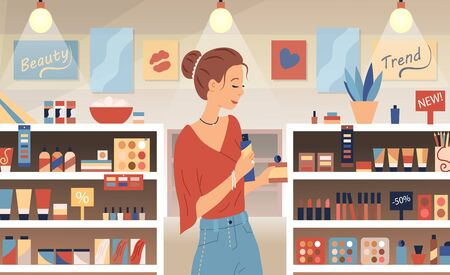 Cosmetic store, makeup, skincare, beauty concept. Perfumer girl near shelves with perfumes. Young woman is choosing new aroma at the counter of a perfume shop. Flat style. Vector illustration