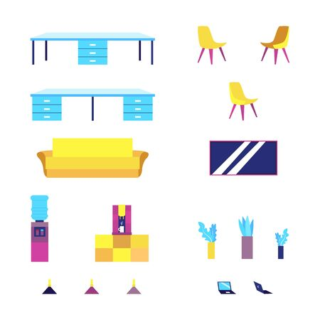 Office Furniture And Objects isolated on the white background. Flat style. Vector illustration Ilustracja