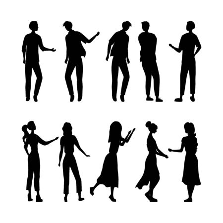 Several people silhouettes are dancing on the party isolated on the white background. Flat style. Vector illustration