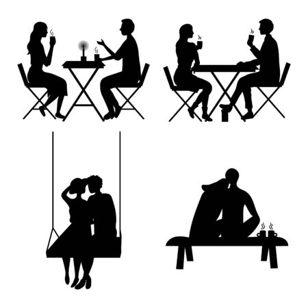 Romantic couples silhouettes isolated on the white background. Flat style. Vector illustration