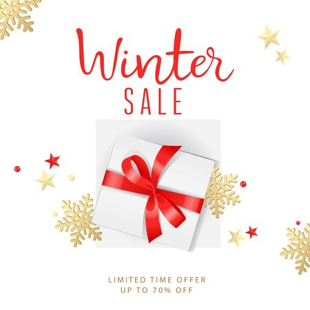 Winter sale banner with snowflakes, discount, text and gift box on the abstract background. Flat style. Vector illustration