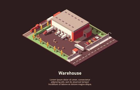 Isometric warehouse cargo concept. Iinfographic element representing industrial warehouse building with freight train, cars, forklift unloading trucks. Vector illustration