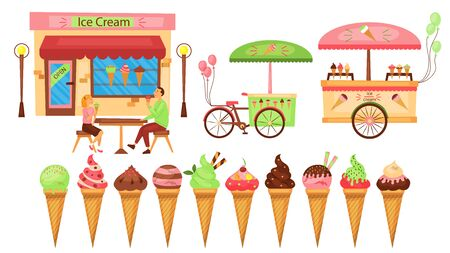 Ice cream set. Cozy cafe with costumers, mobile bike and tray on wheels for ice cream sales. Flat style. Vector illustration