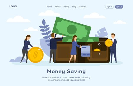 Money saving website landing page. People Put Money and Credit Card into a Huge Purse. Tiny men and women characters web page banner. Flat style. Vector Illustration