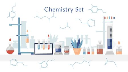 Chemistry bio technology science flat icons set of molecule nuclear power and microscope for school education isolated vector illustration