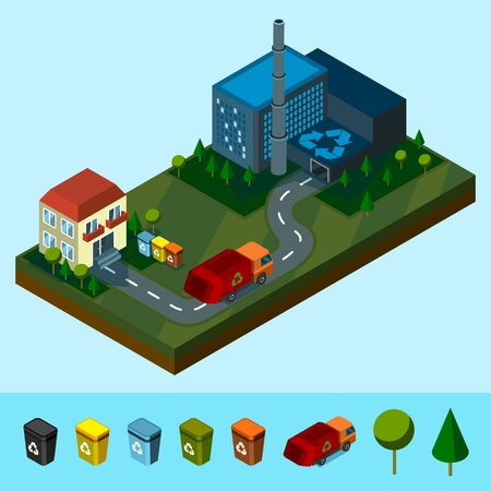 Isometric Recycling plant, house, and waste truck, caring waste. Can use for web banner, infographics, hero images. Vector illustration.