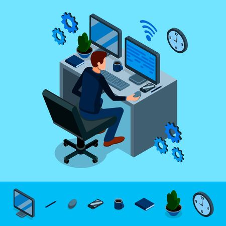 Isometric programming concept. Programmer is working at his work place, around him are abstract icons of internet technologies. Programming, coding, analyst, code developer. Vector illustration