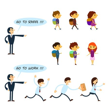 Set of business characters and pupils isolated on the white background. Angry boss is yelling at workers, in order they go to work. Angry teacher is yelling at pupils, in order they go to school.