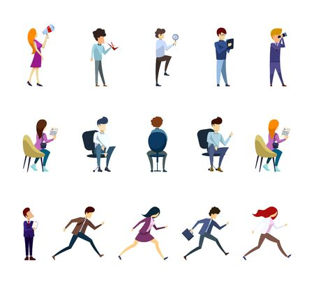 Set of business characters in different poses isolated on the white background. Flat style. Vector illustration