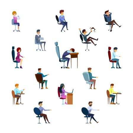 Set of business characters in different poses isolated on the white background. Flat style. Vector illustration.