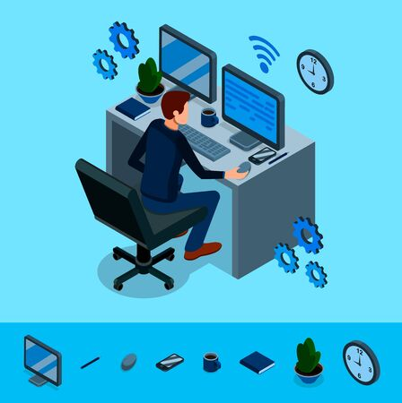 Isometric programming concept. Programmer is working at his work place, around him are abstract icons of internet technologies. Programming, coding, testing, debugging, analyst. Vector illustration