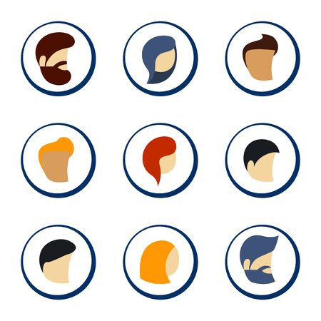 Colorful Circle Icons Set of Persons male and female in Trendy Flat Style. Vector illustration.