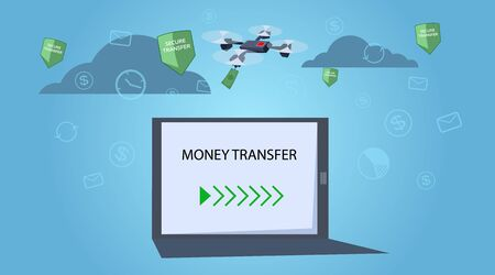 Money transfer concept. The drone carries the money. Abstract business background. Flat style. Vector illustration. Ilustracja