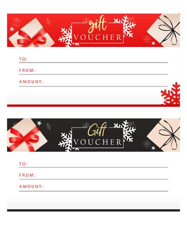 Set of luxury gift vouchers with ribbons, bows, gift boxes and place for text. Elegant template for holiday gift card, coupon and certificate. Flat style. Vector illustration 일러스트