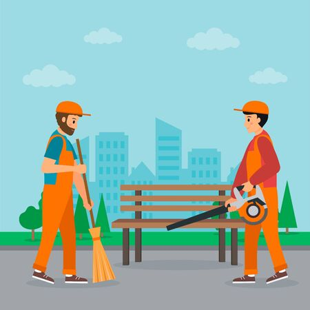 Cleaning service concept. Two janitors sweep the street with cityscape background. The first one is holding the broom, another one is holding garden blower. Flat style. Vector illustration. Stock Illustratie