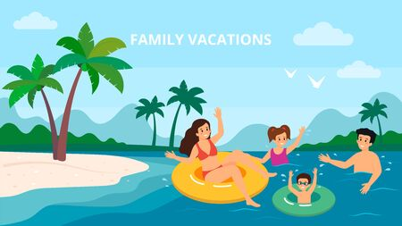 Family Swimming Holiday Sea Seaside Summer Vacation Parents With Two Children Vector Illustration. Stock Vector - 136748312