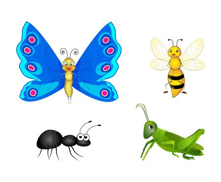 Set of colorful cartoon insects isolated on white background. Butterfly, bee, ant, grasshopper. Flat style. Vector illustration Ilustrace
