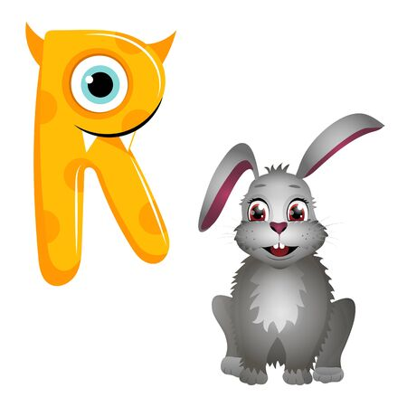 Vector cute kids cartoon alphabet. Letter R with rabbit isolated on the white background. Flat style. Vector illustration Ilustração