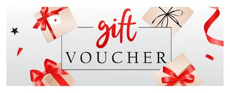 Luxury gift voucher template with ribbons, bows, gift boxes and place for text. Elegant template for holiday gift card, coupon and certificate. Flat style. Vector illustration