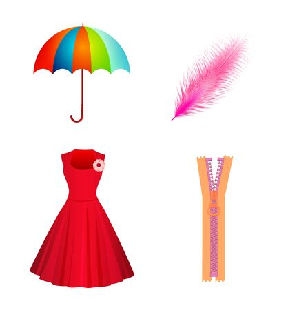 Set Icons Of Umbrella, Dress, Quill, Zipper Isolated On White Background. Flat style. Vector illustration
