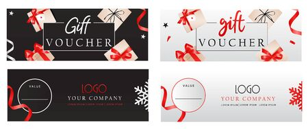 Set of luxury gift vouchers templates with bows, gift boxes and place for text and logo. Elegant template for holiday gift card, coupon and certificate. Flat style. Vector illustration