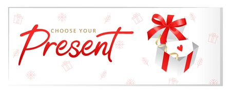 Luxury gift voucher template with Choose your Present sing, red ribbon on the gift box, snowflakes and place for text. Template for holiday gift card, coupon and certificate. Flat Vector illustration