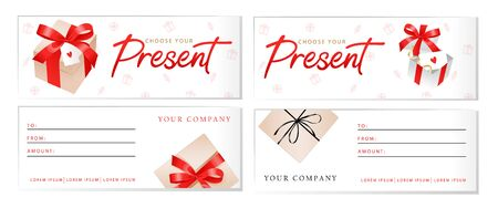 Set of luxury gift vouchers templates with Choose Your Present sign, gift boxes with ribbons and bows, place for text and logo. Template for holiday gift card and certificate. Flat Vector illustration