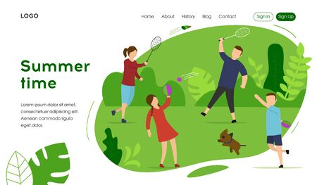 Happy Family Summer Vacation Landing Page Concept. Mother, Father, Daughter and Son are Playing Active Games Outdoor. Flat style. Vector Illustration Illustration