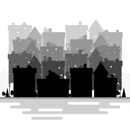 Silhouettes of different Houses Forms Isolated on the White Background. Winter city view. Flat style. Vector illustration Ilustrace
